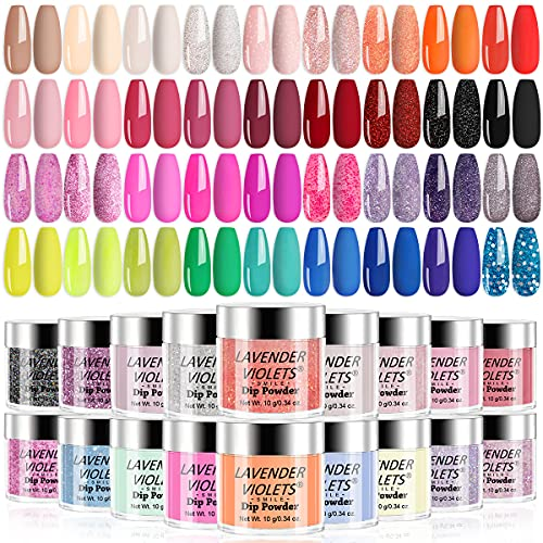 Lavender Violets Quick Drying Dip-Powder-Nail-Colors-Set of 36 Colors - Glitter Nude Red Pink Yellow and Green Fast Dry Dip-Powder-Nail-Kit for Home Salon Dipping Nail Manicure M950