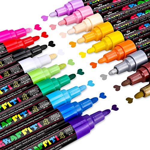 Emooqi Steine Bemalen Stifte Set, 18 Farben Acrylstifte Marker Stifte Acrylfarben Stifte 2-3mm Marker Paint Pen Schnelltrocknend Premium Paint Marker Set Art Acrylstifte für DIY Handwerk