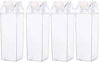 Clear Milk Carton Water Bottle - BPA Free Child Friendly - Environmentally Reusable – Milk Carton Shaped Water Bottle – Juice/Boba Tea Bottle – 500ml Handy Travel Size + Enviormental Sticker