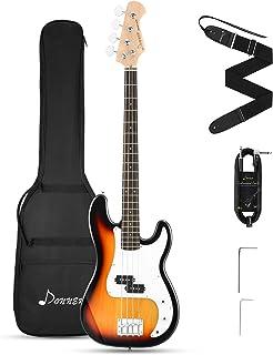 Donner DPB-510S فول سایز 4 رشته گیتار بیس گیتار Sunburst استارتر با کیف ، بند گیتار و کابل گیتار