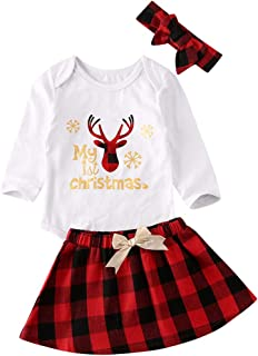 My First Christmas 3Pcs Newborn Baby Girl Reindeer Printed Long Sleeve Romper Red Plaids Tutu Skirt Xmas Outfit
