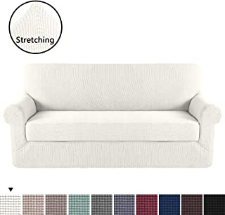 H.VERSAILTEX Ivory White Color 2-Piece Spandex Stretch Sofa Slipcover for XL Sofa, Anti-Slip Foams, Machine Washable Furniture Protector Sofa Covers for Living Room