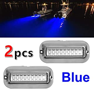 VOFONO 2 Upgrade 27LED to 42 LED 12V 304 Stainless Steel Underwater Transom Pontoon Drain Fish Boat Navigation Light and Stern IP68 Waterproof Set of 1