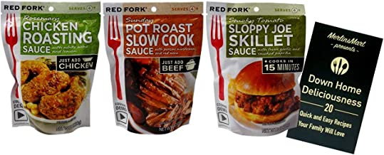 Slow Cooker One Pot Seasoning Sauce Mix 3 Flavor Variety Plus Recipe Booklet Bundle, (1) each: Rosemary Chicken, Pot Roast, Sloppy Joe (8 Ounces)