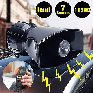 Shentesel 7 Sounds Alarm Car Motorcycle Boat Van Truck Loud Speaker Horn Siren 115dB 12V - Black