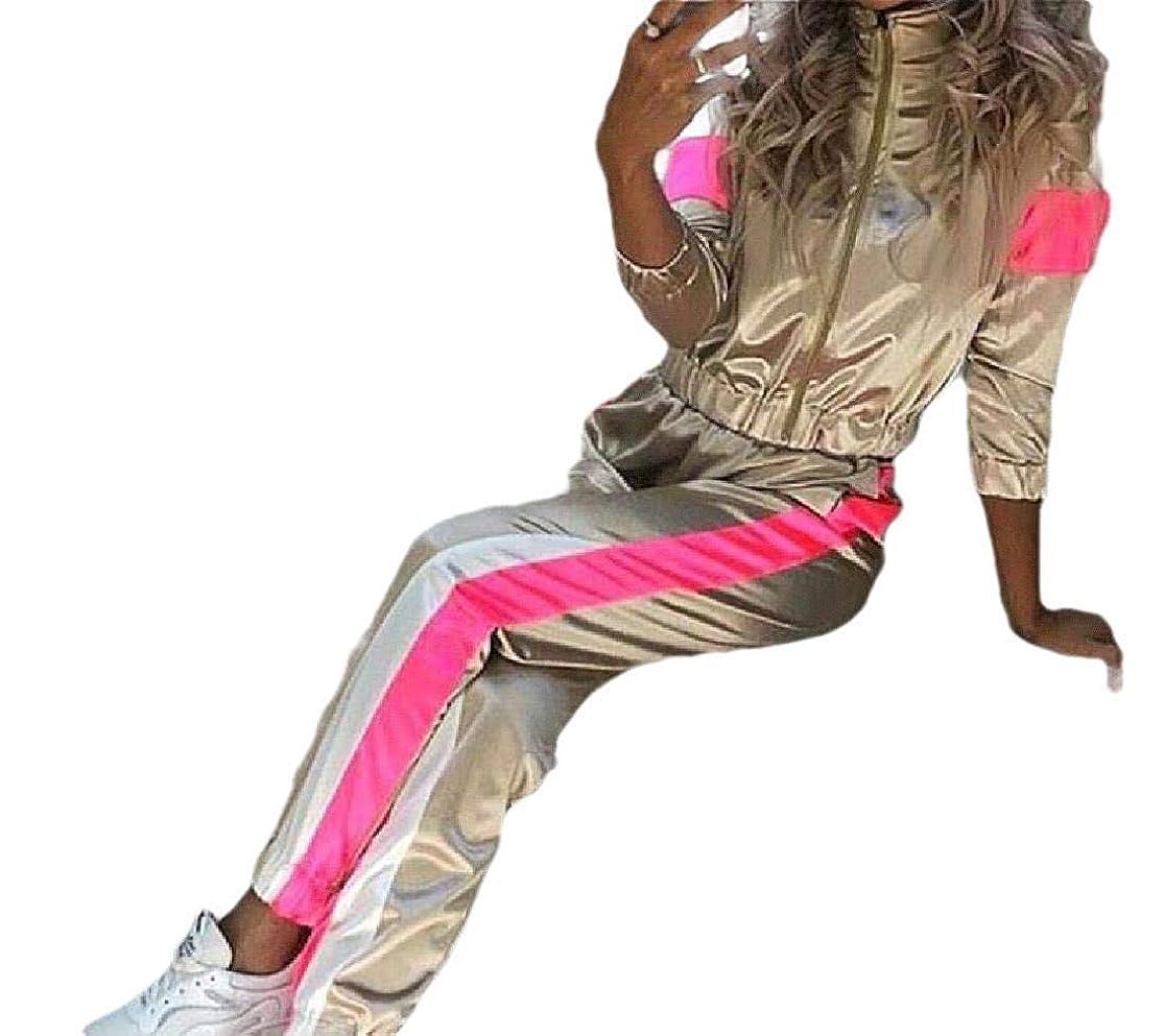 フォアタイプ正直刺繍女性の新しい液体メタリックスポーツ2ピースセットトラックスーツジップ付き Golden US L=China XL