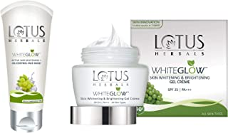 Lotus Herbals White Glow Active Skin Whitening And Oil Control Face Wash, 50g and Lotus Herbals Whiteglow Skin Whitening And Brightening Gel Cream, SPF-25, 40g