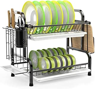Dish Drying Rack, Haundry Stainless Steel 2-Tier Dish Rack with Utensil Holder, Cutting Board Holder and Dish Drainer for ...