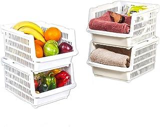 Homelife - 2 Bacs Rangement Empilable Organisateur Chariot Multiusage - Plastique avec Roulette pour légumes Superposable ...