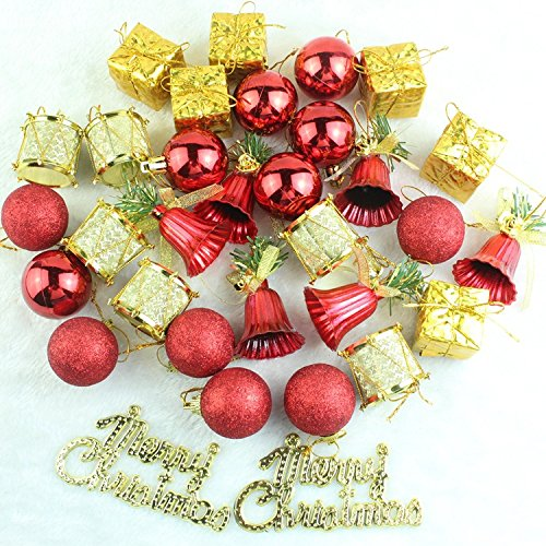 Ungfu Mall 32 unids Adornos de Navidad Bolas Tambores Adornos Árbol de Navidad Colgante Inicio Decoración