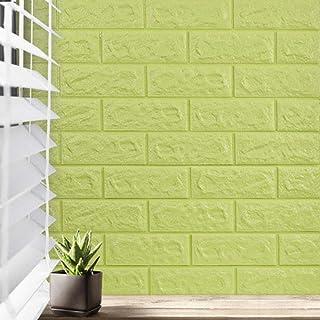 5件3d立体壁纸自粘 防水 环保 适用客厅、卧室、电视背景墙、幼儿园,77*70CM 苹果绿