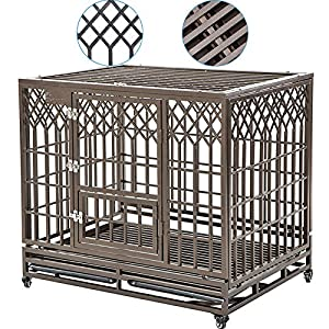 SMONTER Heavy Duty Dog Cage for Large Dog Strong Metal Kennel and Crate Pet Playpen with Three Doors, Four Wheels,42 Inch,Y Shape,Brown … … …