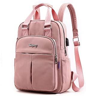 Backpack Purse for Women Men with USB Charging Port Laptop Rucksack Travel Shoulder Bag Pink Pink One Size