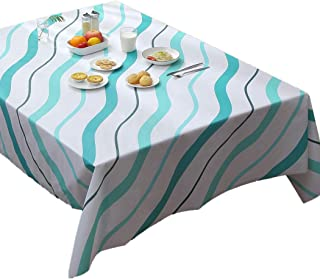 FANX Vinyl Rectangle Tablecloth 52x70 Inch PVC Spillproof/Oil-Proof Wipeable Indoor Outdoor White and Teal Gingham Table Cover