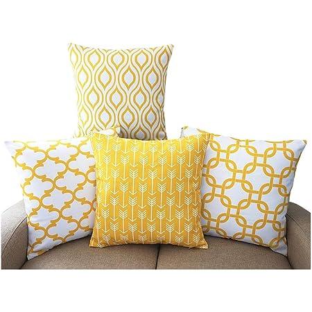 TIDWIACE® Jaune Housses de Coussin Durable Coton Lin carré Couvre-lit décoratif Home décoratif Taie d'oreiller 45,7 x 45,7 cm Lot de 4
