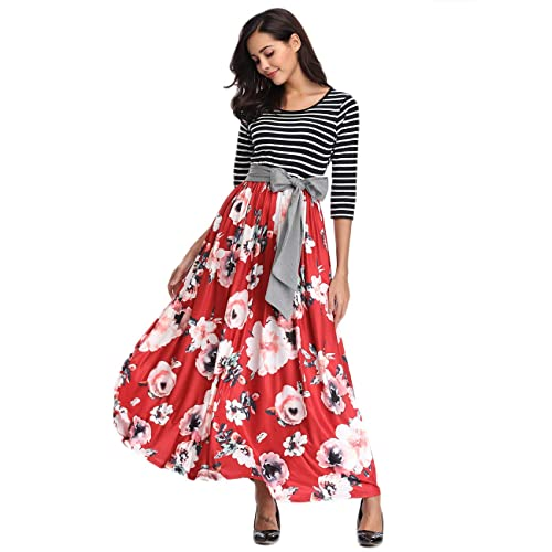 af6e59f5305 Womens Striped Floral Maxi Dress with Pockets Empire Waist 3 4 Sleeve Tie  Waist Floor
