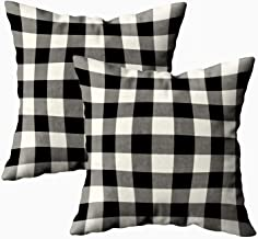 TOMKEY 2 Packs Hidden Zippered 18X18Inch Soft Black White Outdoor Gingham Pattern Decorative Throw Cotton Pillow Case Cushion Cover for Home Decor