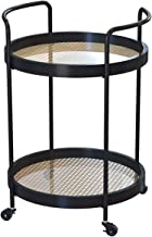 Round Side Table, Metal Coffee Tables, Modern Living Room End Tables with Wheels, Bedroom Nightstands, Portable Drinks Tro...