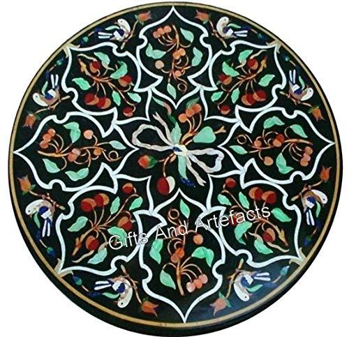 Gifts And Artefacts - Mesa de centro (27 pulgadas, forma redonda, parte superior de mesa, color negro, hecho a mano de la India)