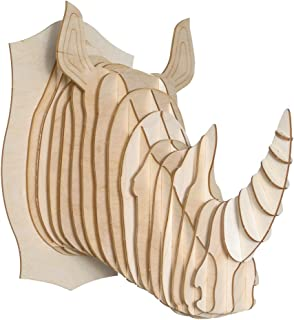 Cardboard Safari Baltic Birch Plywood Animal Taxidermy Rhino Trophy Head, Robbie X-Large