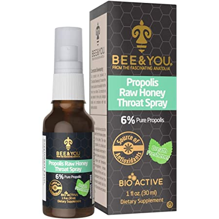 Bee and You Propolis Raw Honey Throat Spray with Menthol - Natural Immune Support & Sore Throat Relief Antioxidants, Keto, Paleo, Gluten-Free, 1 Fl Oz