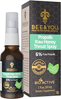 Bee and You Propolis Raw Honey Throat Spray - Natural Immune Support & SoreThroat Relief Antioxidants, Keto, Paleo, Gluten...