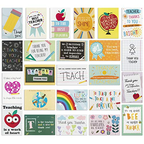 ?24 Pack? Thank You Card for Teacher- Cute Teacher Appreciation Cards in 24 unique Designs- Greeting Card For Teacher- Teachers Day Card -End of Year Teacher Cards, Nice Notes To Teachers 4 x 6 inches