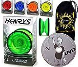 Henrys Lizard YoYo - ¡Juego Profesional de Yo Yo + APRENDE Trucos de YoYo DVD + Bolsa de Viaje! Pro YoYos para niños y Adultos. (Verde)