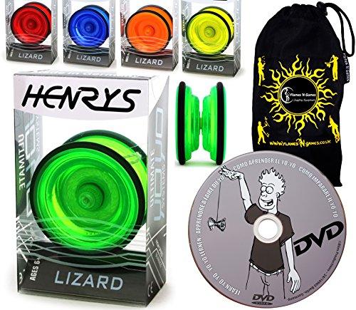 Henrys YoYo Lizard + Lernen Yo Yo Tricks DVD + Reisetasche! Yoyo Profi für Kinder und Erwachsene! AXYS-Systemachse Slider mit High-Speed-Lager. (Gelb)