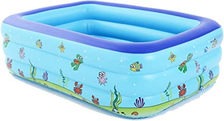 GEXING Large Inflatable Pool Adult Inflatable Pool Inflatable Wash Basin Family Inflatable Swimming Tank,Blue