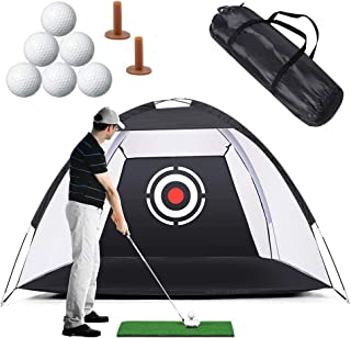 Golf Practice Net Golf Hitting Nets, Golf Training Net with Target Bundles for Backyard Swing Hitting Chipping,with Grass Mat, Golf Tees,6 Golf Balls and Carry Case Indoor Outdoor Sports,6.5X4.6X3.3FT