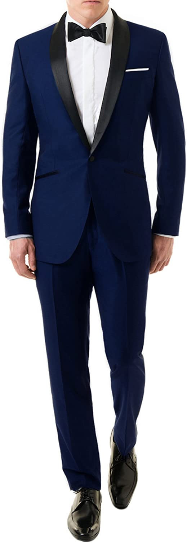 UGFashions Men's 3 Piece Designer Groom Wedding Plaid Slim Fit Casual Tuxedo Party Suit with Pants