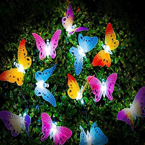 WEISHAZI - Guirnalda de luces solares con forma de mariposa, 12 luces LED de fibra óptica