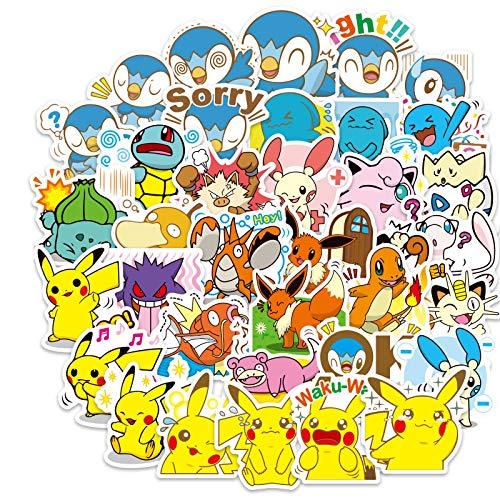 DONGJI Etiqueta engomada de la Maleta Pikachu Etiqueta engomada de la Maleta de Pokémon Etiqueta engomada de la Guitarra de la Maleta de Pokémon 80pcs