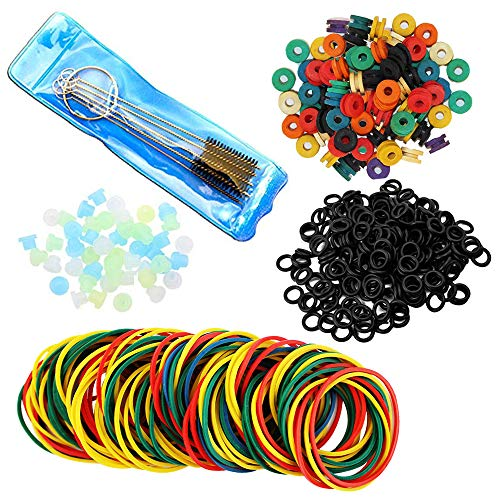 500pcs Tattoo Machine Parts  WZPB 100 Colorful Rubber Bands 100 Tattoo Orings 100 Tattoo Needles Grommets 100 Tattoo Rubber Pad and 1 Tattoo Cleaning Brush Set for Tattoo Machine Supplies