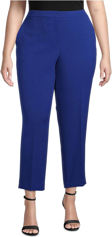 Kasper Womens Blue Zippered Cropped Wear to Work Pants Size 22W