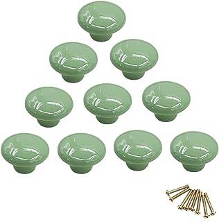 10 pomos redondos de cerámica de colores con un solo orificio tirador para armario aparador puerta cajón verde