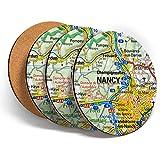 Juego de 4 posavasos redondos con diseño de mapa francés de Nancy Riverfront France con texto en inglés «French Travel Map Beach» y protección de mesa para cualquier tipo de mesa #45823