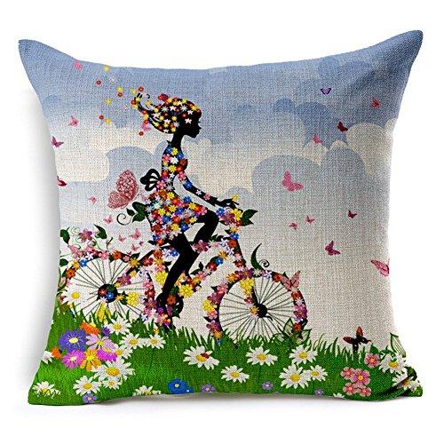 m.g.d ciclismo niña impreso decorativo almohada Funda para cojín, 17,7x 17,7pulgadas