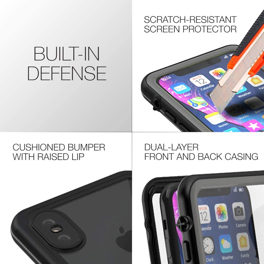 CellEver Compatible with iPhone Xs/iPhone X Waterproof Case Fully Sealed Clear Slim Military Grade Protection IP68 Certified SandProof Snowproof Full Body Protective Transparent Cover (Gray)