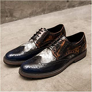 Leather Brogue Shoes for Men Business Oxford Lace up Microfiber Leather Multicolor Breathable Hollow out Block Heel shoes (Color : Blue, Size : 38 EU)