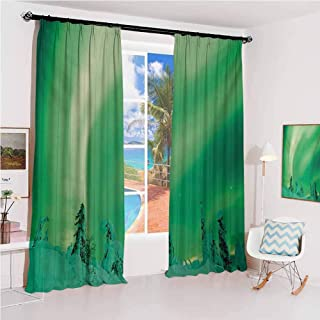 Aurora Borealis Sunshade Sunscreen Curtain Poles Sky Display Over ICY Snowy Pine Trees Wanderlust Iceland Panorama Soundproof Shade W52 x L108 Inch Fern Green