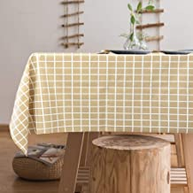 Jaoul Vinyl Oilcloth Plastic Heavyweight Waterproof Spillproof Tablecloth, Classic Simple Style Chic for Summer for Rectangular Table, Coffee Check, 55