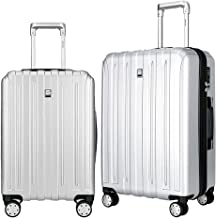 Fochier Luggage Sets 2 Piece Expandable Hardshell PC Suitcase With Spinner Wheels Silver
