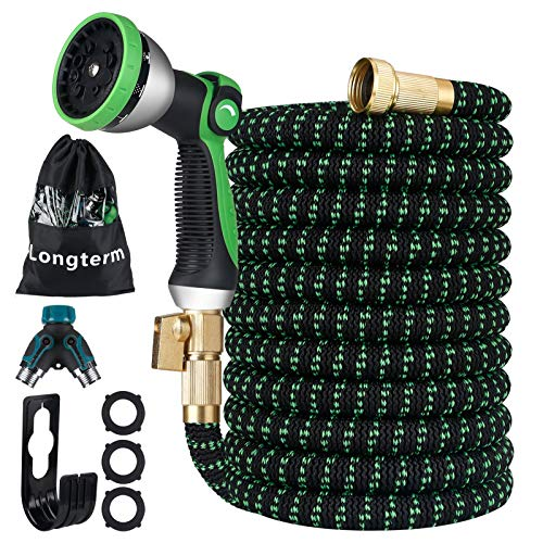 """Longterm Expandable Garden Hose Set 50ft,Strength Fabric 3750D,6 Latex Layers,3/4"""" Solid Brass Fittings,10 Way Durable Zinc Water Spray Nozzle,3 Way Pocket Flexible Splitter with Storage Bag"""