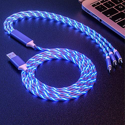 Type C/Android/iOS 3 in 1 USB Charging Cable, 3 Feet LED Glowing Charger Cable Adapter,Compatible with More Mobile Phones and Tablets (Blue)