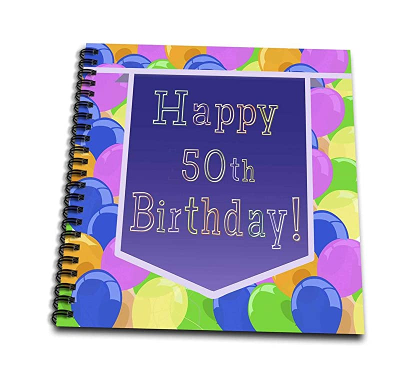 3dRose db_173076_2 Balloons with Purple Banner Happy 50Th Birthday-Memory Book, 12 by 12-Inch