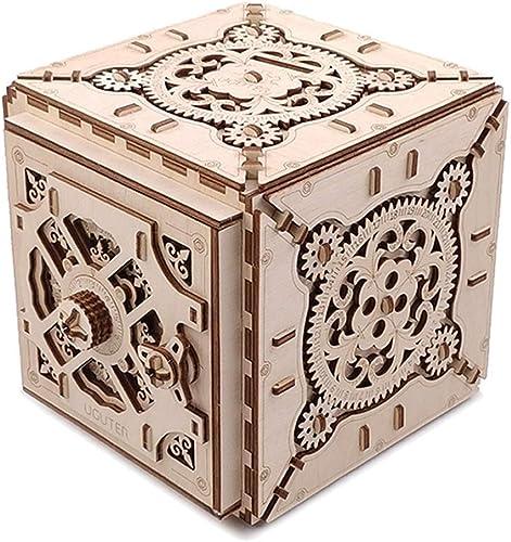 LHTOY Mechanische 3D Holz Puzzle Spielzeug Safe Kit Geld Banken Holz R el IQ Lernspiel für Kinder