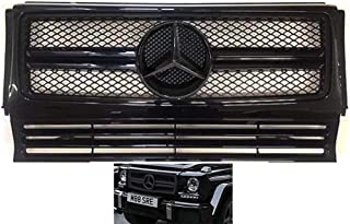 G63 G65 Mercedes-Benz G-Wagon 1990-2014 style all black grille gloss G550 G500 G55 with OEM black star in center. fits all years. #352