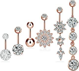 Belly Button Rings with Dangle Body Piercing Jewelry White Gold Plated Barbells for Women Girls 14G 316L Surgical Steel Sexy Flower Hypoallergenic Belly Rings